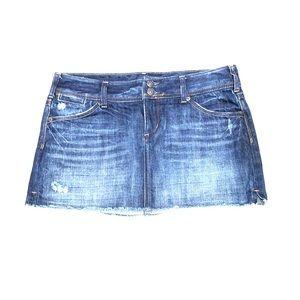 Express X2 Quality Denim Distressed Jean Skirt 8
